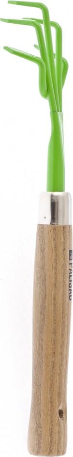 """Рыхлитель 5-зубый """"Palisad"""" с эргономичной деревянной рукояткой предназначен для рыхления и аэрации почвы на небольших грядках и клумбах.  Рабочая часть выполнена из инструментальной стали У8 и окрашена порошковой эмалью для предохранения от коррозии.  Рукоятка выполнена из вяза и для защиты пропитана маслом.   По окончании работы необходимо очистить рабочую часть инструмента от остатков грунта."""