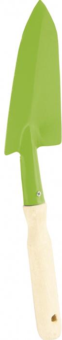 Совок узкий с деревянной рукояткой.  Ширина рабочей части 65 мм, длина 160 мм, общая длина 345 мм.   Предназначен для высадки и пересадки рассады или цветов на небольших грядках или клумбах.  Рабочая часть изготовлена из стали Ст3 и окрашена порошковой эмалью для предохранения от коррозии.  Рукоятка выполнена из березы в/с.   По окончании работы необходимо очистить рабочую часть инструмента от остатков грунта.