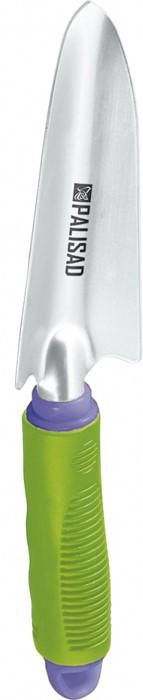 """Совок посадочный """"Palisad"""" с обрезиненной рукояткой, которую при необходимости можно удлинить, предназначен для высадки и пересадки рассады или цветов на небольших грядках или клумбах.  Рабочая часть выполнена из инструментальной стали У8 и окрашена порошковой эмалью для предохранения от коррозии.  Рукоятка выполнена из обрезиненного пластика, в торце рукоятки имеется винтовая заглушка, выкрутив которую можно удлинить инструмент на 500 мм.  По окончании работы необходимо очистить рабочую часть инструмента от остатков грунта."""