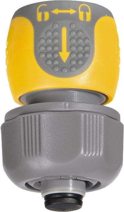 """Применяется для соединения шланга 3/4"""" с насадкой.   Позволяет перекрывать поток воды при смене насадки.   Материал — АБС-пластик со вставками из резины."""