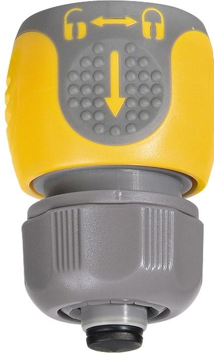 """Применяется для соединения шланга 1/2"""" с насадкой.   Позволяет перекрывать поток воды при смене насадки.   Материал — АБС-пластик со вставками из резины."""