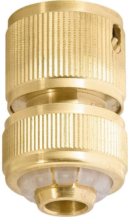 Быстросъемный соединитель с клапаном «автостоп», посадочный диаметр для шланга 3 4.  Изготовлен из латуни.  Является соединительным элементом поливочной системы.  Используется с адаптерами (65825, 65850, 65820, 65840, 65830), переходниками-соединителями, тройниками (66565, 66568), а также с наборами (66210, 65276).