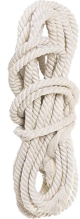 Веревка хлопчатобумажная изготовлена методом тросовой свивки.  Удобна в обращении, применяется в качестве обвязочного материала.