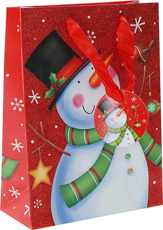 """Оригинальныйподарочный пакет""""Веселый снеговик"""" станет прекрасным дополнением для вашего подарка. Пакет выполнен из качественной плотной бумаги с хорошей печатью, объемные элементы на пакете придают дополнительный яркий акцент."""