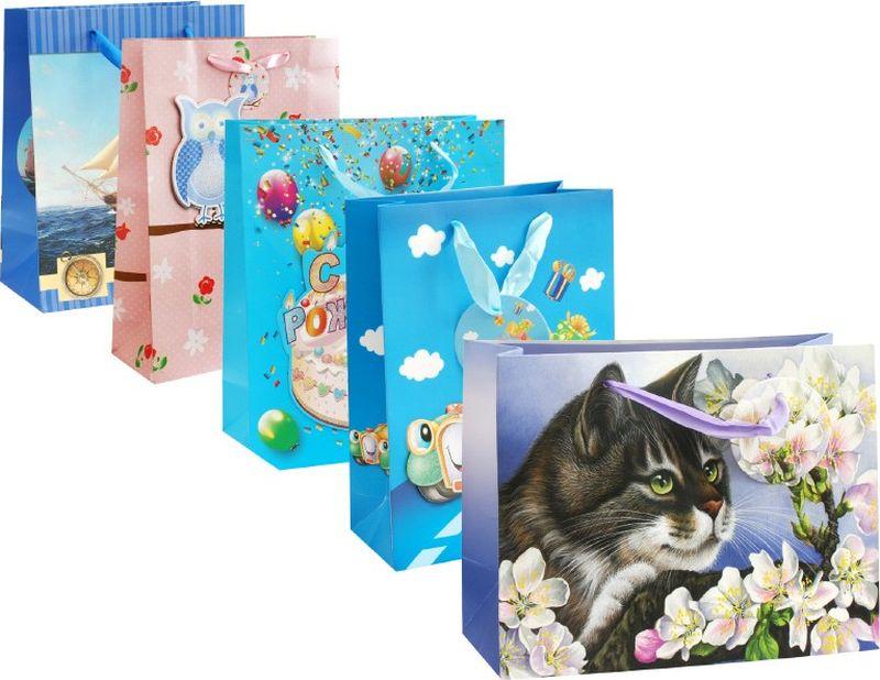 Оригинальныеподарочные пакетыстанут прекрасным дополнением для вашего подарка. Пакеты выполнены из качественной плотной бумаги с хорошей печатью, объемные элементы на пакете придают дополнительный яркий акцент.  Набор пакетов Вечеринка. Количество: 5 шт В наборе: пакет Твой праздник, пакет Яблоневый цвет, пакет Машинка, пакет Парусник, пакет 3 совы на розовом   Материал: бумага олщина бумаги: 210 г /м2 Размер : 18*23*10 cм.
