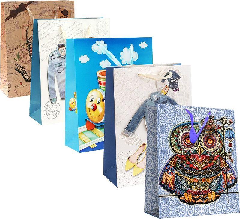 Оригинальныеподарочные пакетыстанут прекрасным дополнением для вашего подарка . Пакеты выполнены из качественной плотной бумаги с хорошей печатью, объемные элементы на пакете придают дополнительный яркий акцент.  Набор пакетов Сказка. Количество: 5 шт В наборе: пакет Волшебная сова, пакет Сова с бабочкой, пакет Дикий запад, пакет Паровозик, пакет Джинсовый наряд  Материал: бумага Толщина бумаги: 210 г /м2 Размер : 26*32*12 cм.
