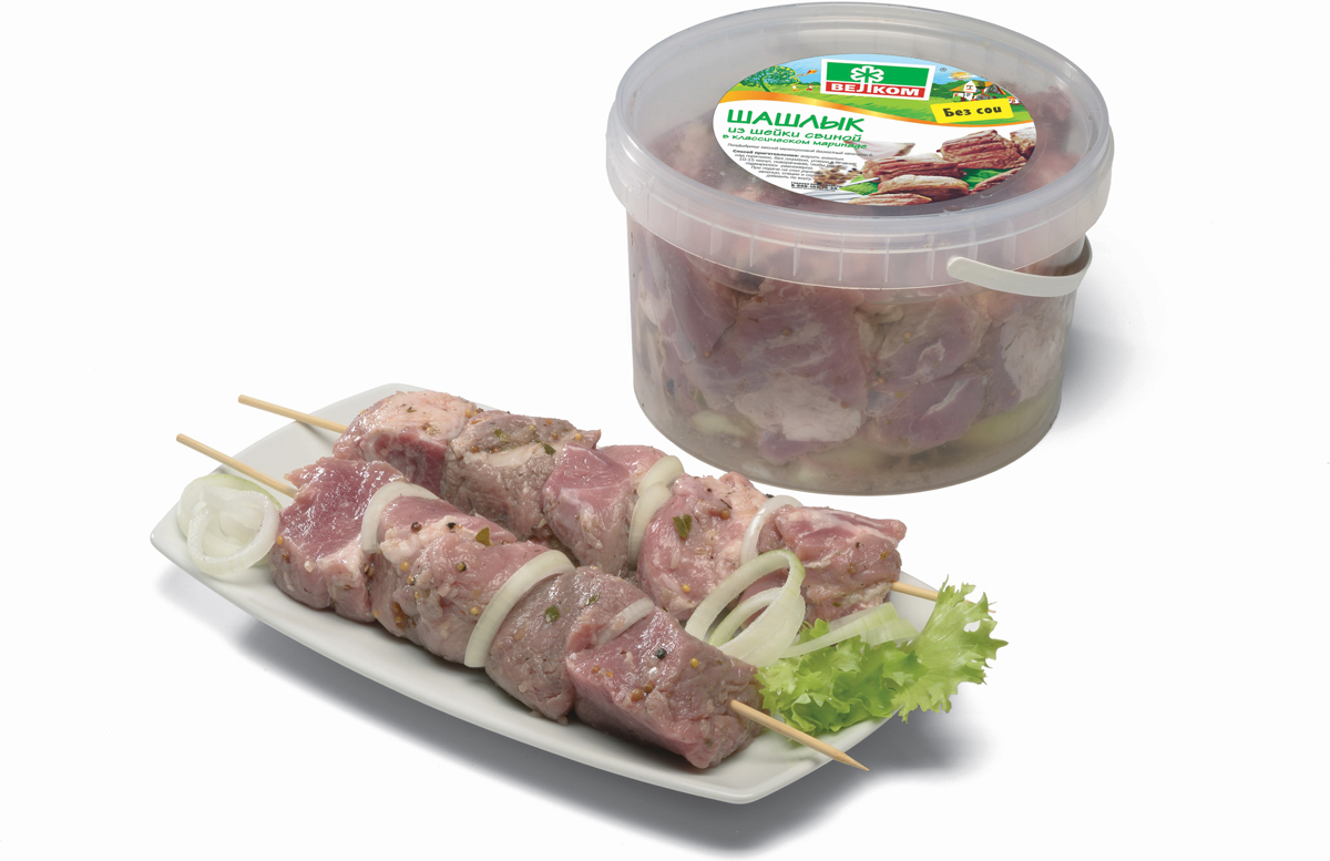 Велком Шашлык из свиной шейки, ведро, 2 кг мясо птицы охлажденное оптом