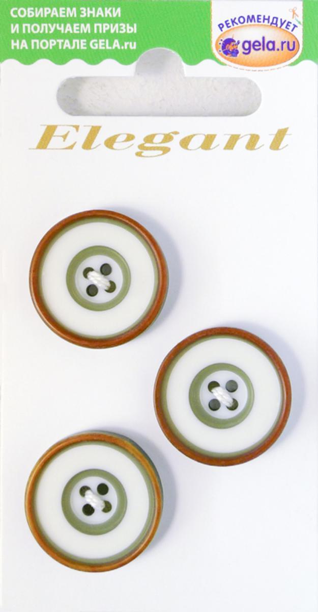 Zakazat.ru: Пуговицы Disboton Elegant, цвет: белый, оливковый, диаметр 20 мм, 3 шт. 14985-20-0AF/7/3