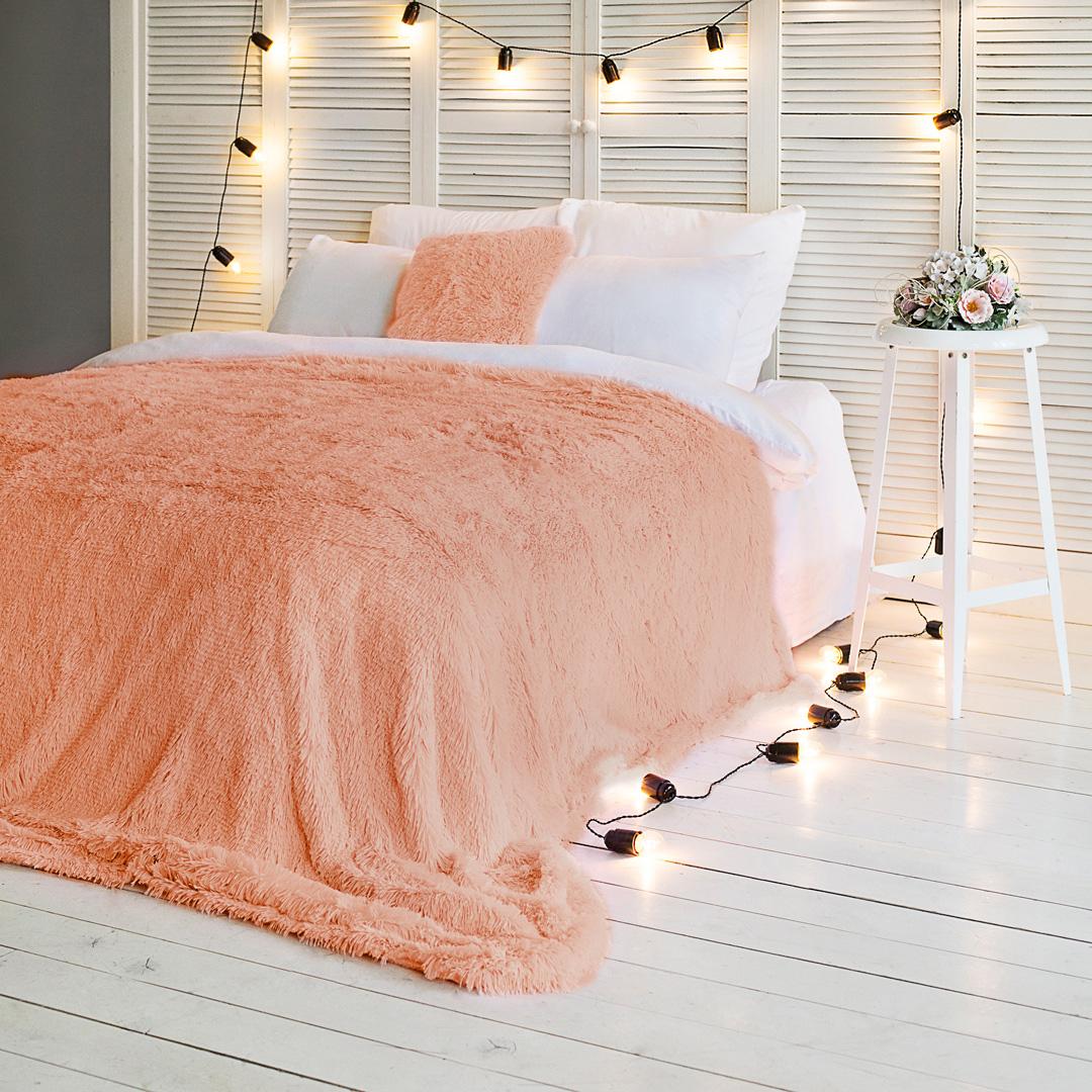 Плед-покрывало Dome Taeppe, цвет: абрикосовый, 200 х 220 см 12storeez шуба укороченная из искусственного меха бежевый