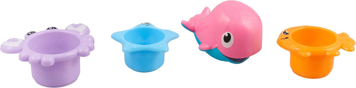 Ути Пути Набор игрушек для ванной 4 шт цвет голубой оранжевый фиолетовый 61561