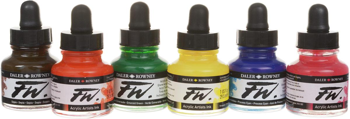Отличный набор акриловых чернил для широкого спектра техник сочных цветов. Водостойкие чернила, отлично смешиваемые между собой, обладающие высокой светостойкостью.