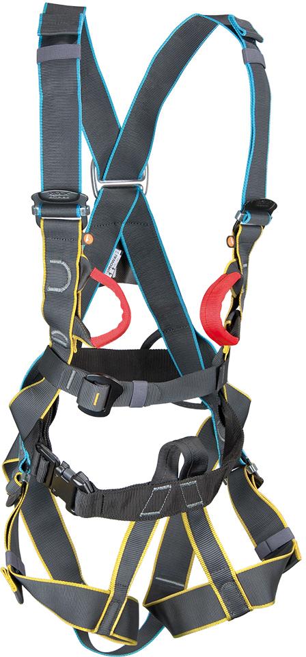 Полная обвязка, специально разработанная для использования в парке приключений и на веревочных курсах. Цветные ремни для ног и плечевые ремни позволяют легко и быстро надеть и отрегулировать обвязку. Идеально подходит для парков приключений, веревочных курсов, работы на высоте и обучения детей и начинающих на скалодроме в зале. 2 точки крепления (передняя - скрытые красные петли и задняя) для удержания при срыве изготовлены из сплава и протестированы при нагрузке 15 kN (стандарт EN361). Передний узел соединения для крепления петли и аксессуаров (выполненный в черном цвете) соответствует установленному стандарту EN813. Легкие пряжки позволяют просто и быстро надеть обвязку. 2 петли для снаряжения. Размер: II - 160-210 см.  Вес: 1206 г. Стандарт: EN 361, EN 813.