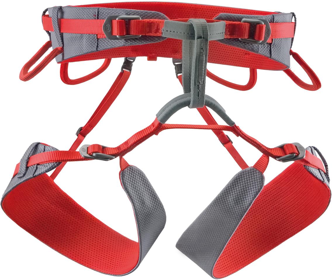 Обвязка спортивная Rock Empire 4b Slight, цвет: серый, красный. Размер M/XL000010448494b Slight – это обвязка с четырьмя пряжками, созданная специально для гор и больших стен. Благодаря двум легким быстро застегивающимся алюминиевым пряжкам на ремнях для ног и двум на поясном ремне, обвязка очень просто регулируется по размеру.4 быстро застегивающиеся алюминиевые (AL 7075) пряжки – 12 мм на ногах/16 мм на поясе. Инновационные эргономичные ремни. 4 асимметричные петли для снаряжения (грузоподъемность 5 кг). Легкая соединительная страховочная петля контрастного цвета (ширина 12 мм, нагрузка15 kN).