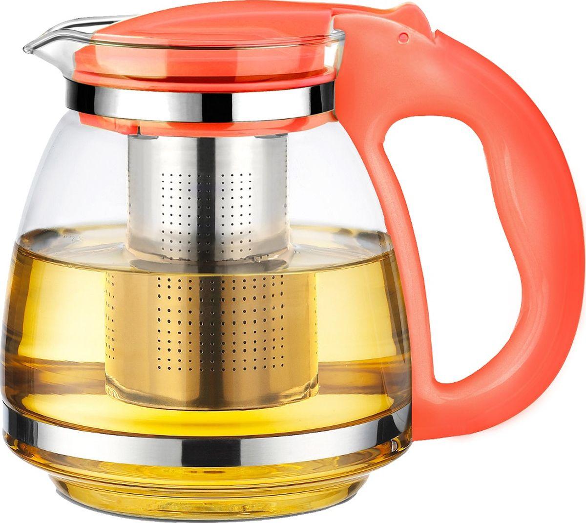 Чайник заварочный TimA Сакура, с фильтром, цвет: оранжевый, 1,5 л