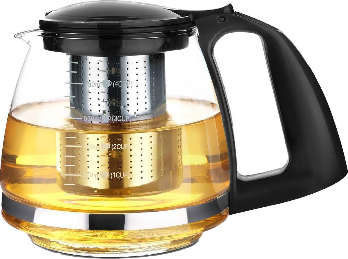 Чайник заварочный TimA Имбирь, с фильтром, цвет: черный, 750 мл
