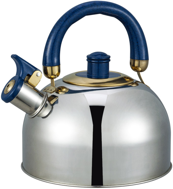 Чайник Bayerhoff, со свистком, цвет: металлик, синий, 4,5 л. BH-850BH-850Чайник Bayerhoff со свистком изготовлен из высококачественной нержавеющей стали. Эргономичная ручка не нагревается и не скользит. Чайник имеет оригинальный современный дизайн. Подходит для всех типов плит, включая индукцию.