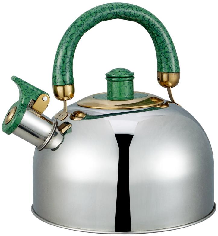 Чайник Bayerhoff, со свистком, цвет: металлик, зеленый, 3 л. BH-840 чайник со свистком 3 8 л regent люкс 93 2503b 2