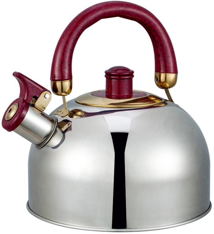 Чайник Bayerhoff, со свистком, цвет: металлик, красный, 4,5 л. BH-853 чайник со свистком cook