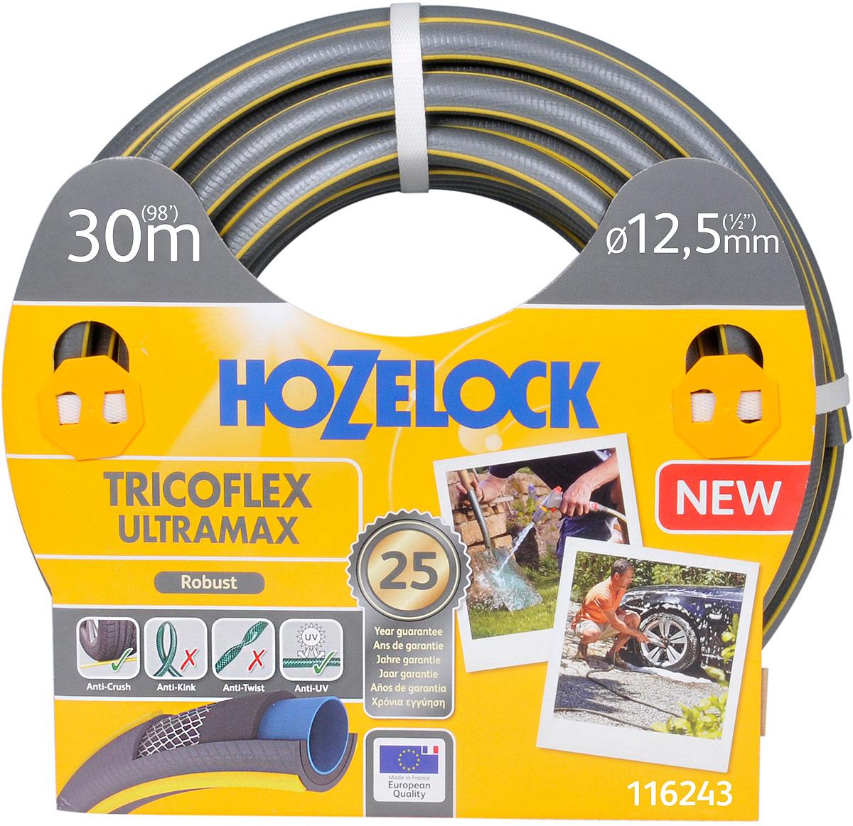 Шланг HoZelock 116243 Tricoflex Ultramax 12,5 мм 30 м • Усиленная защита от повреждений, перегибов и перекручиванияПрочный Шланг, состоящий из 5-ти слоев, прекрасно подойдет тем, кто больше всего ценит в Шлангах надежность и износостойкость. Гладкий внутренний слой обеспечивает максимальный ток воды. Однородный микропористый слой из ПВХ по технологии Soft&Flex придает прочность стенкам Шланга, облегчает вес (до 25% легче, чем у конкурентов) и улучшает маневренность. Удобен в эксплуатации-легко сматывается в катушки и системы хранения. Специальное армированное плетение по технологии TNT предотвращает деформацию Шланга при скручивании; внешний слой из ПВХ защищает от повреждений, изготовлен по технологии Ergo Rib, благодаря которой Шланг комфортно держать в руке. Материалы, из которых состоит Шланг, являются безопасными для человека и окружающей среды-не содержат фталатов, тяжелых металлов и вредных токсинов.