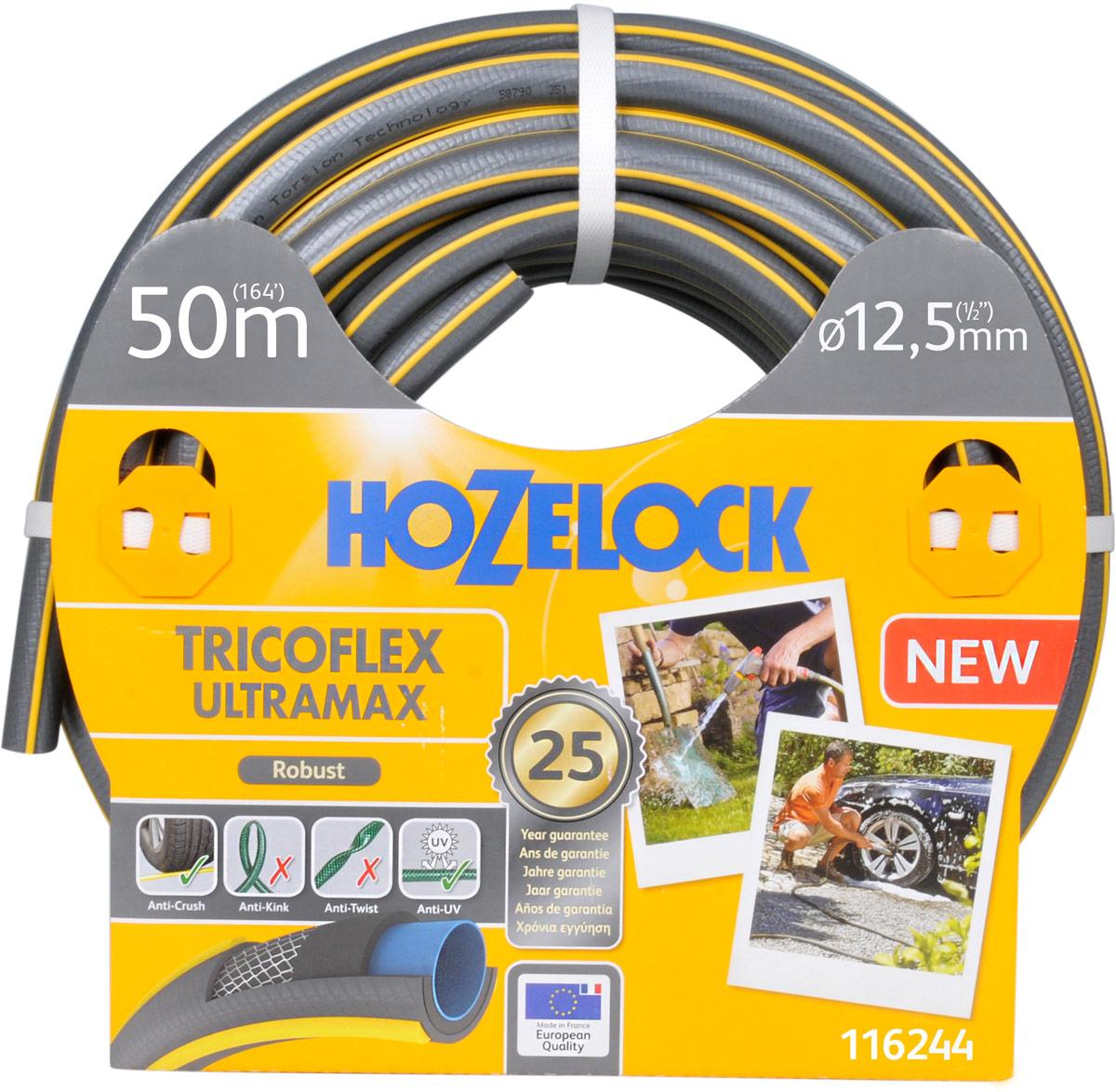Шланг HoZelock 116244 Tricoflex Ultramax 12,5 мм 50 м • Усиленная защита от повреждений, перегибов и перекручиванияПрочный Шланг, состоящий из 5-ти слоев, прекрасно подойдет тем, кто больше всего ценит в Шлангах надежность и износостойкость. Гладкий внутренний слой обеспечивает максимальный ток воды. Слой из ПВХ по технологии Soft&Flex придает прочность стенкам Шланга, облегчает вес (до 25% легче, чем у конкурентов) и улучшает маневренность. Шланг удобен в эксплуатации-легко сматывается в катушки и системы хранения. Специальное армированное плетение по технологии TNT предотвращает деформацию Шланга при скручивании; внешний слой из ПВХ защищает от повреждений, изготовлен по технологии Ergo Rib, благодаря которой Шланг комфортно держать в руке. Материалы, из которых состоит Шланг, являются безопасными для человека и окружающей среды-не содержат фталатов, тяжелых металлов и вредных токсинов.