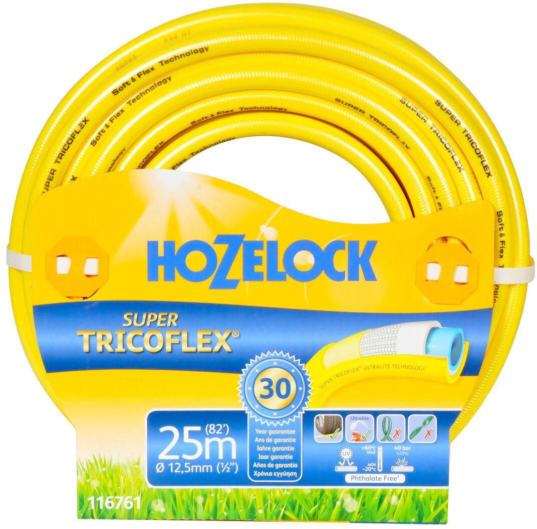 Шланг HoZelock 116761 Super Tricoflex Ultimate 12,5 мм 25 м • Максимальная прочность• Усиленная защита от заломов, устойчивость к перегибам и перекручиванию• Выдерживает давление до 35 бар Шланг с гладкой поверхностью, для производства используется самая продвинутая система армирования на планете. Состоит из 5-ти слоев. Гладкий внутренний слой обеспечивает максимальный ток воды. Однородный микропористый слой из ПВХ по технологии Soft&Flex действует как амортизатор, обеспечивая превосходную резистентность к перекручиванию с сохранением легкости и подвижности, что позволяет Шлангу легко маневрировать по участку. Без усилий сматывается в катушки и системы хранения. Специальное армированное плетение по технологии TNT предотвращает деформацию Шланга при скручивании; внешний слой из ПВХ защищает от повреждений. Яркий желтый цвет позволяет Вам без труда увидеть Шланг на любой поверхности. Материалы, из которых состоит Шланг, являются безопасными для человека и окружающей среды-не содержат фталатов, тяжелых металлов и вредных токсинов.