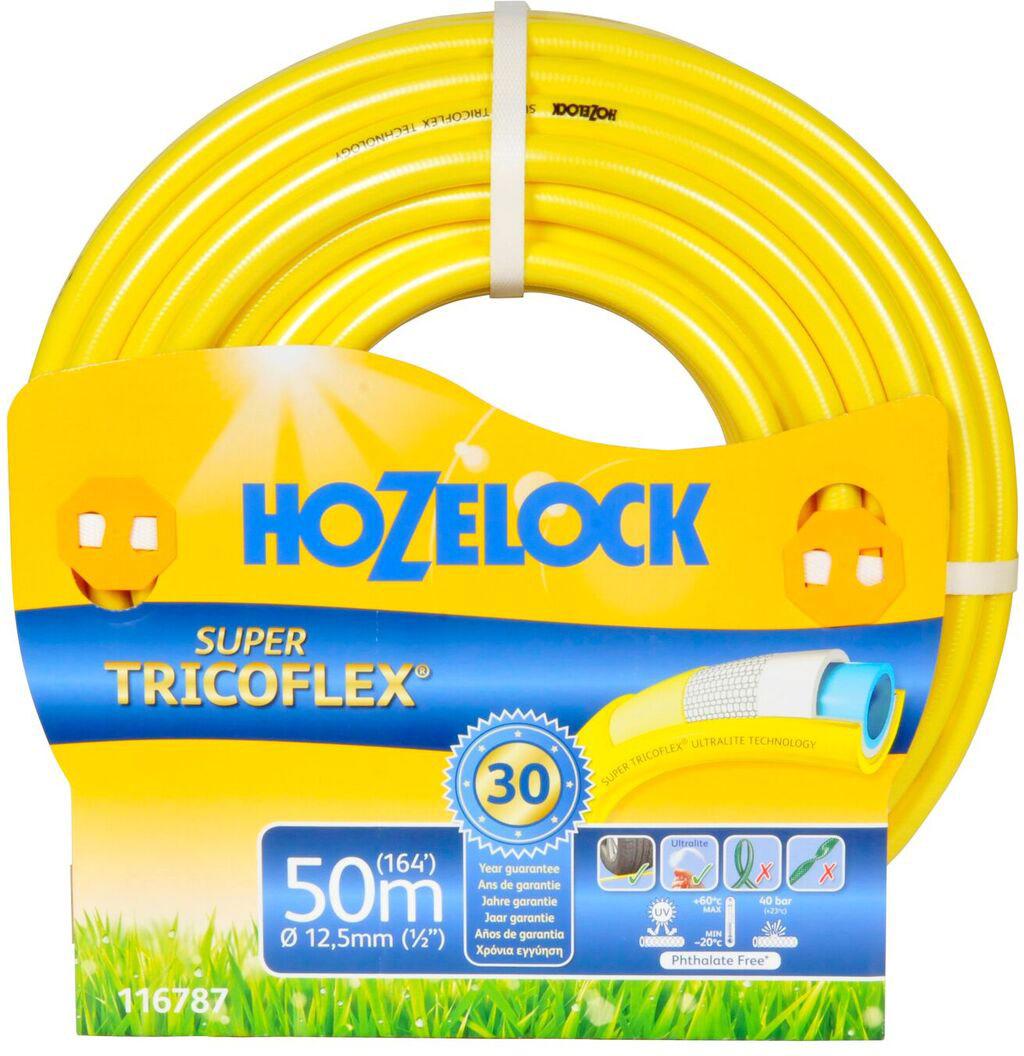 Шланг HoZelock 116787 Super Tricoflex Ultimate 12,5 мм 50 м • Максимальная прочность• Усиленная защита от заломов, устойчивость к перегибам и перекручиванию• Выдерживает давление до 35 бар Шланг с гладкой поверхностью, для производства используется самая продвинутая система армирования на планете. Состоит из 5-ти слоев. Гладкий внутренний слой обеспечивает максимальный ток воды. Однородный микропористый слой из ПВХ по технологии Soft&Flex действует как амортизатор, обеспечивая превосходную резистентность к перекручиванию с сохранением легкости и подвижности, что позволяет Шлангу легко маневрировать по участку. Без усилий сматывается в катушки и системы хранения. Специальное армированное плетение по технологии TNT предотвращает деформацию Шланга при скручивании; внешний слой из ПВХ защищает от повреждений. Яркий желтый цвет позволяет Вам без труда увидеть Шланг на любой поверхности. Материалы, из которых состоит Шланг, являются безопасными для человека и окружающей среды-не содержат фталатов, тяжелых металлов и вредных токсинов.