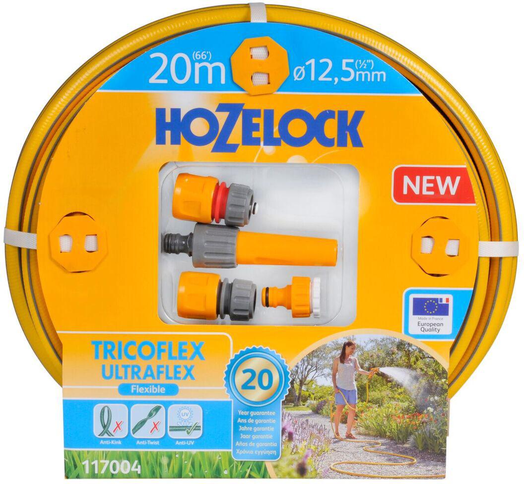 """Набор для полива HoZelock 117004 Tricoflex Ultraflex Starter Set 12,5 мм 20 м: Шланг Ultraflex 12,5 мм 20 м, Коннектор классик (12,5 мм и 15 мм) 2070, Коннектор классик с Аквастоп (12,5 мм и 15 мм) 2075, Наконечник для шланга 2292, Коннектор для крана вне помещений 1/2""""-3/4"""" (12,5 мм и 19 мм) 2184Готовый набор с высококачественным шлангом и всеми принадлежностями, необходимыми для того, чтобы приступить к поливу."""