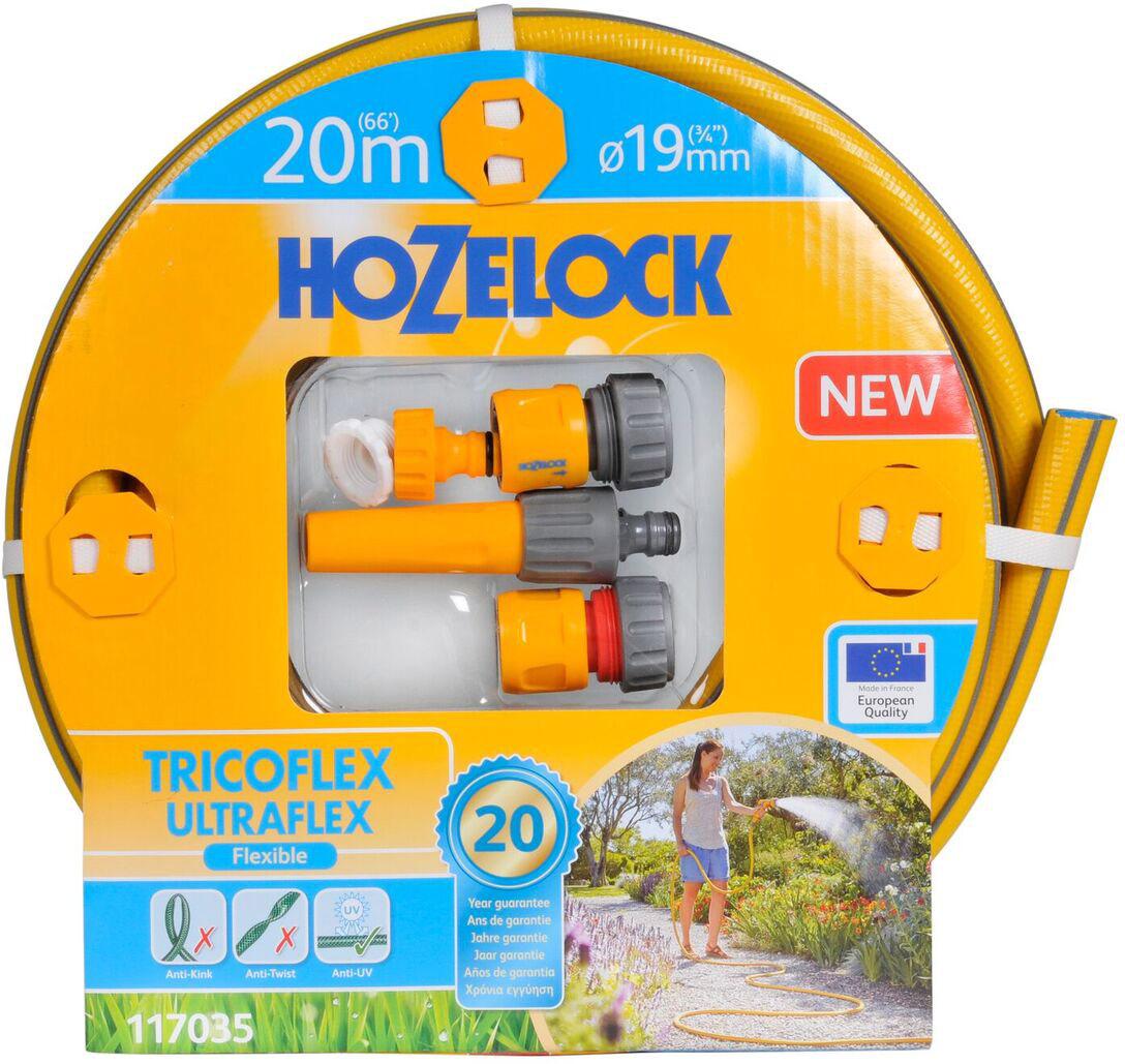 """Набор для полива HoZelock 117035 Tricoflex Ultraflex Starter Set 19 мм 20 м: Шланг Ultraflex 19 мм 20 м, Коннектор классик (12,5 мм и 15 мм) 2070, Коннектор классик с Аквастоп (12,5 мм и 15 мм) 2075, Наконечник для шланга 2292, Коннектор для крана вне помещений 1/2""""-3/4"""" (12,5 мм и 19 мм) 2184Готовый набор с высококачественным шлангом и всеми принадлежностями, необходимыми для того, чтобы приступить к поливу."""