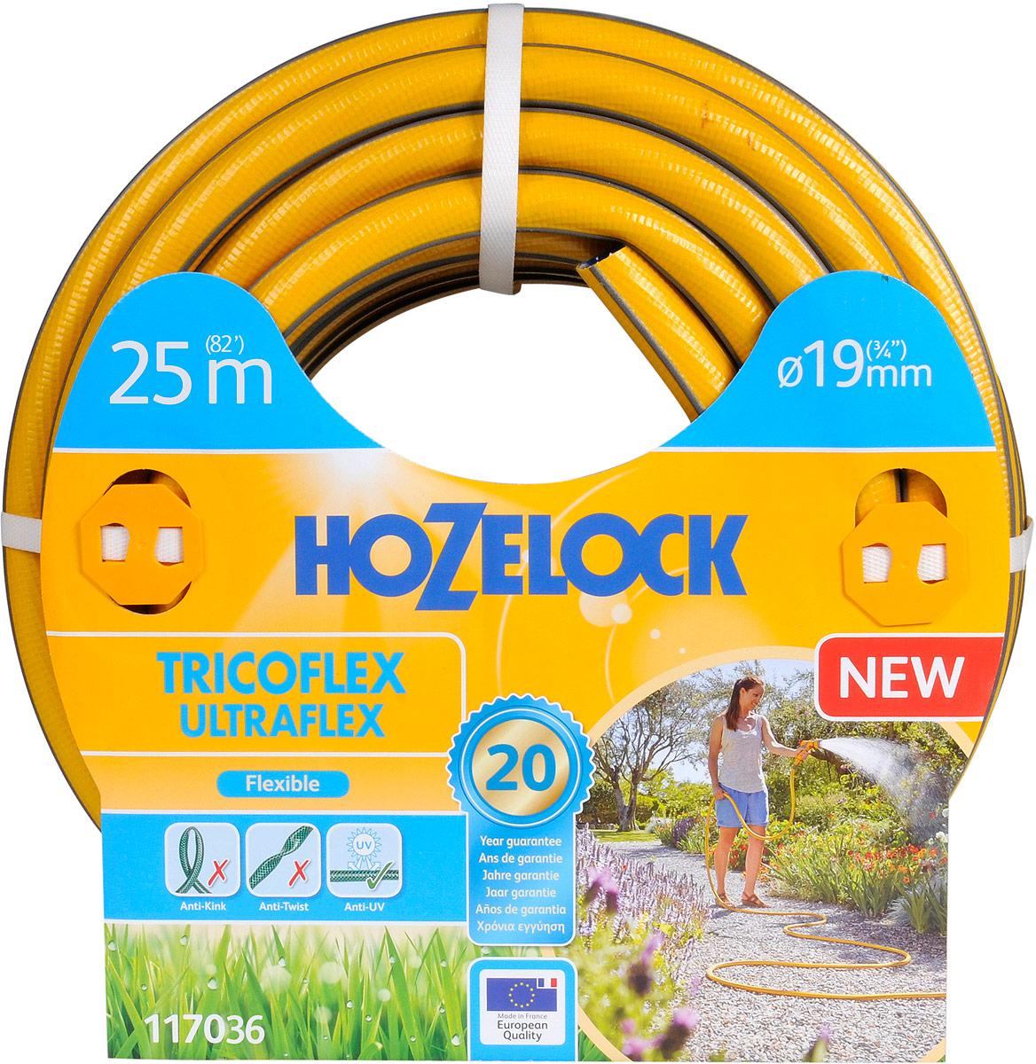 Шланг HoZelock 117036 Tricoflex Ultraflex 19 мм 25 м • Повышенная эластичность• Устойчивость к перегибам и перекручиваниюСостоящий из 5-ти слоев Шланг HoZelock Tricoflex Ultraflex изготовлен по технологии, которая позволяет прокладывать Шланг по участку без усилий в любом направлении. Гладкий внутренний слой обеспечивает максимальный ток воды через Шланг. ПВХ слои по технологии Soft&Flex придают прочность стенкам Шланга, одновременно сокращая вес и улучшая подвижность Шланга при работе в саду. Шланг укладывается в системы хранения (катушки, тележки) с минимальными усилиями. Специальная технология DмH4 защищает от перекручивания, обеспечивает идеальный ток воды в любом положении. Благодаря технологии Ergo Rib Шланг легко сматывается и удобен в эксплуатации. Прочный внешний ПВХ слой защищает Шланг от повреждений и продлевает срок его службы.