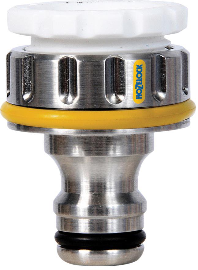 """Коннектор HoZelock 2041 для крана вне помещений Pro (12,5 мм и 19 мм)  Предназначен для подсоединения шланга HoZelock, имеющего систему быстрого соединения, к внешнему резьбовому крану, расположенному на Вашем участке. Изготовлен из латуни с никелированным покрытием-высокопрочный, надежный, стойкий к механическим повреждениям и воздействию низких температур! Подходит для использования с большинством внешних кранов, включает адаптер 1/2""""."""