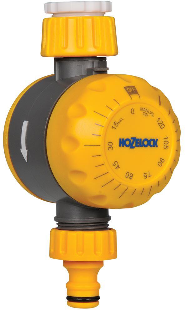 """Таймер полива HoZelock, механический2210Таймер полива Механический HoZelock 2210Подсоединяется к крану и позволяет вручную установить длительность полива до 120 минут и автоматически выключается после полива, помогая Вам экономить воду. Идеально подходит для работы с садовыми дождевателями. Легко установить и использовать благодаря простой механической круговой шкале для установки длительности полива. Не требует батареек. Адаптеры 21 мм (1/2""""), 26.5 мм 3/4"""") для подключения к большинству садовых кранов идут в комплекте. Не требуется тратить время и прилагать усилия на изучение сложных программ. Механический таймер полива HoZelock 2210 может использоваться как с дождевателями (выдерживает давление до 10 бар), так и в системе микро полива (1,5 бар). Может быть также полезен при заполнении пруда или детского бассейна."""