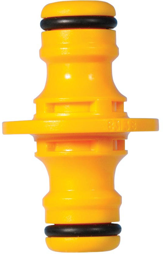 Коннектор HoZelock 2291 двойной Охватываемый коннектор («папа») для соединения двух шлангов, имеющих охватывающие коннекторы («мама»). Изготовлен из высококачественного пластика для максимальной прочности. Используется для соединения двух шлангов или ремнонта поврежденного шланга. Подходит ко всем коннекторам HoZelock.