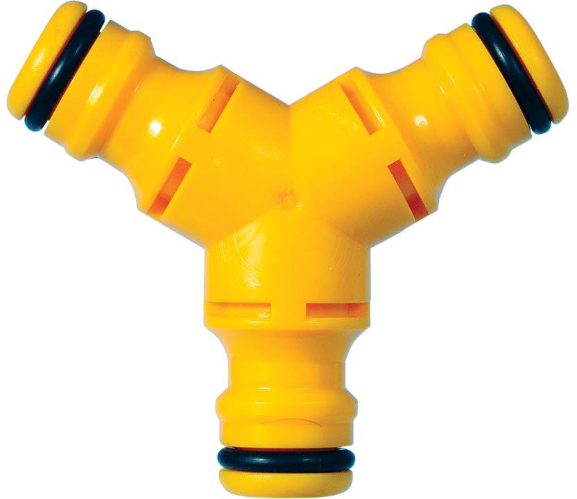 Коннектор HoZelock 2293 Y-образный (тройной) Охватываемый коннектор («папа») для соединения трех шлангов, имеющих охватывающие коннекторы («мама»). Разработан для разделения потока воды в шланге на два направления.  Изготовлен из высококачественного пластика для максимальной прочности. Идеальное решение для полива двух отдельных участков сада одновременно.