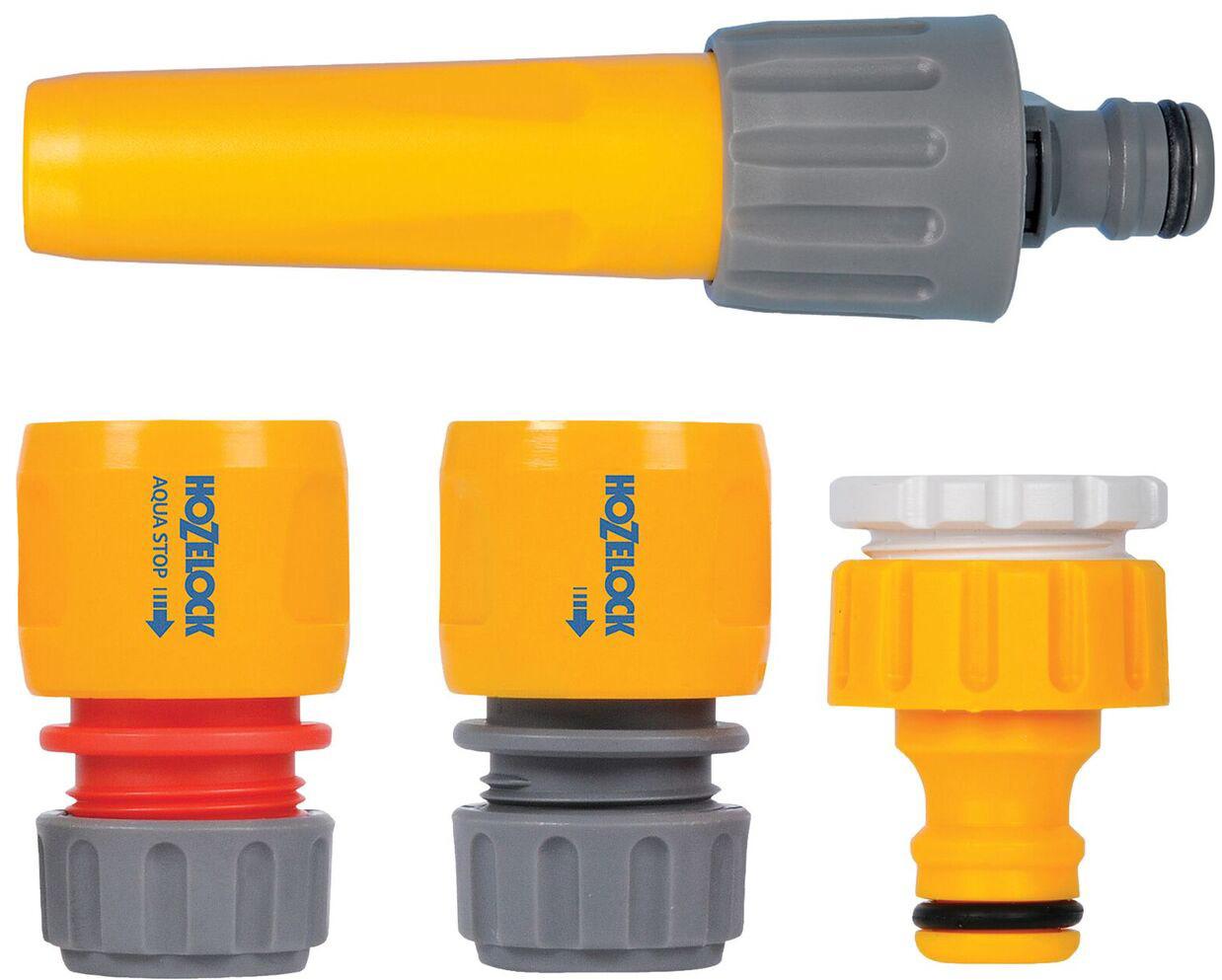 """Набор HoZelock 2352 для запуска полива: Коннектор классик (12,5 мм и 15 мм) 2070, Коннектор классик с Аквастоп (12,5 мм и 15 мм) 2075, Наконечник для шланга 2292, Коннектор для крана вне помещений 1/2""""-3/4"""" (12,5 мм и 19 мм) 2184 Готовый набор с высококачественными принадлежностями, необходимыми для присоединения шланга к крану и наконечником для полива с регулировкой струи."""