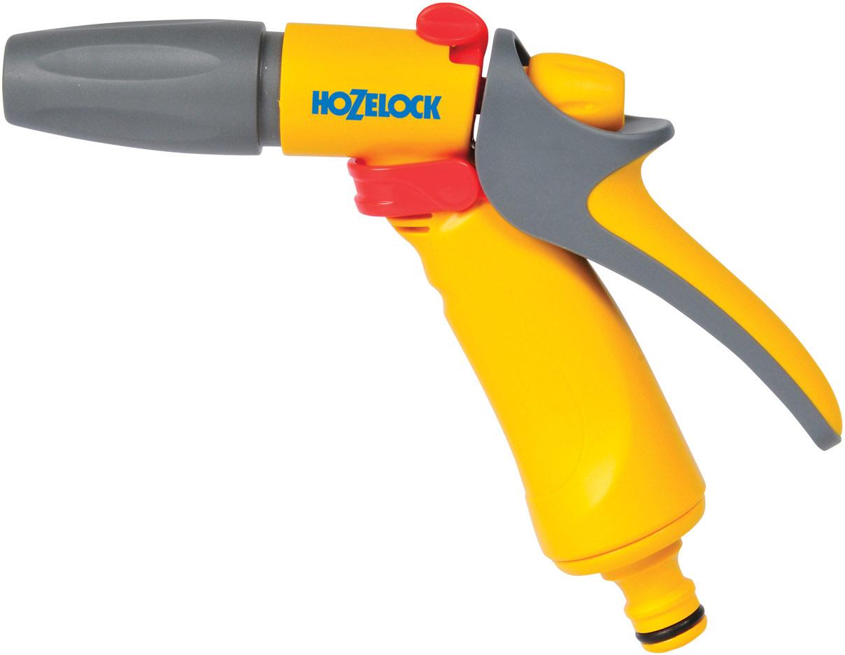 """Пистолет-распылитель HoZelock """"Jet Spray"""" - это компактный и простой в использовании водяной  пистолет с регулировкой силы потока, которая позволяет сэкономить до 50% воды.  Три типа распыления: мощная струя для очистки; быстрый поток (для наполнения водой  различных емкостей – леек и ведер); конусная струя для мягкого полива. Нажав на курок, вы разблокируете подачу воды, а поворотный регулятор на верхней части  пистолета позволяет регулировать поток от 50% до 100%. Для длительного непрерывного  полива предусмотрен механизм фиксации курка, который минимизирует нагрузку на руки. Курок  изготовлен из мягкого пластика, благодаря чему пистолет удобно держать в руке. Изготовлен из  высококачественных материалов для максимальной прочности."""