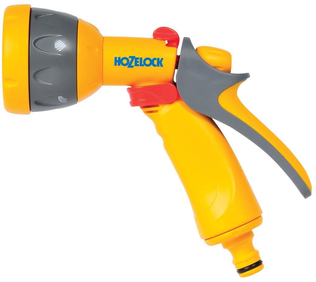"""Пистолет-распылитель HoZelock """"Multi Spray"""" - компактный водяной пистолет с пятью типами  распыления, подходящий как для полива, так и очистки загрязненных поверхностей. Регулировка  силы потока позволяет сэкономить до 50% воды.  Пять типов распыления: мощная струя для очистки; веер для смыва автомобильного шампуня;  быстрый поток (для наполнения водой различных емкостей – леек и ведер); душ,  обеспечивающий точный полив граничных участков, горшков и кашпо, не разрушающий растения;  конусная струя для мягкого полива. Нажав на курок, вы разблокируете подачу воды, а поворотный регулятор на верхней части  пистолета позволяет регулировать поток от 50% до 100%. Для длительного непрерывного  полива предусмотрен механизм фиксации курка, который минимизирует нагрузку на руки.  Курок изготовлен из мягкого пластика, благодаря чему пистолет удобно держать в руке.  Изготовлен из высококачественных материалов для максимальной прочности."""