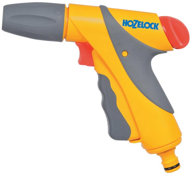 """Пистолет-распылитель HoZelock """"Jet Spray Plus"""" сочетает в себе великолепный внешний вид,  комфорт и эргономичность. Два положения блокировки курка – на 100% и 40% потока, чтобы  минимизировать нагрузку на руку. Имеет три типа распыления: мощная струя для очистки; быстрый поток (для наполнения водой  различных емкостей – леек и ведер); туман для бережного полива саженцев. Курок максимально комфортной формы изготовлен из пластика, мягкого на ощупь. Плавное  нажатие на курок способствует постепенной подаче воды от 0% до 100%. Для длительного  непрерывного полива предусмотрен механизм фиксации курка.  Пистолет дополнительно  оборудован поворотным регулятором, который позволяет регулировать поток от 50% до 100% во  время того, как курок находится в зафиксированном положении."""