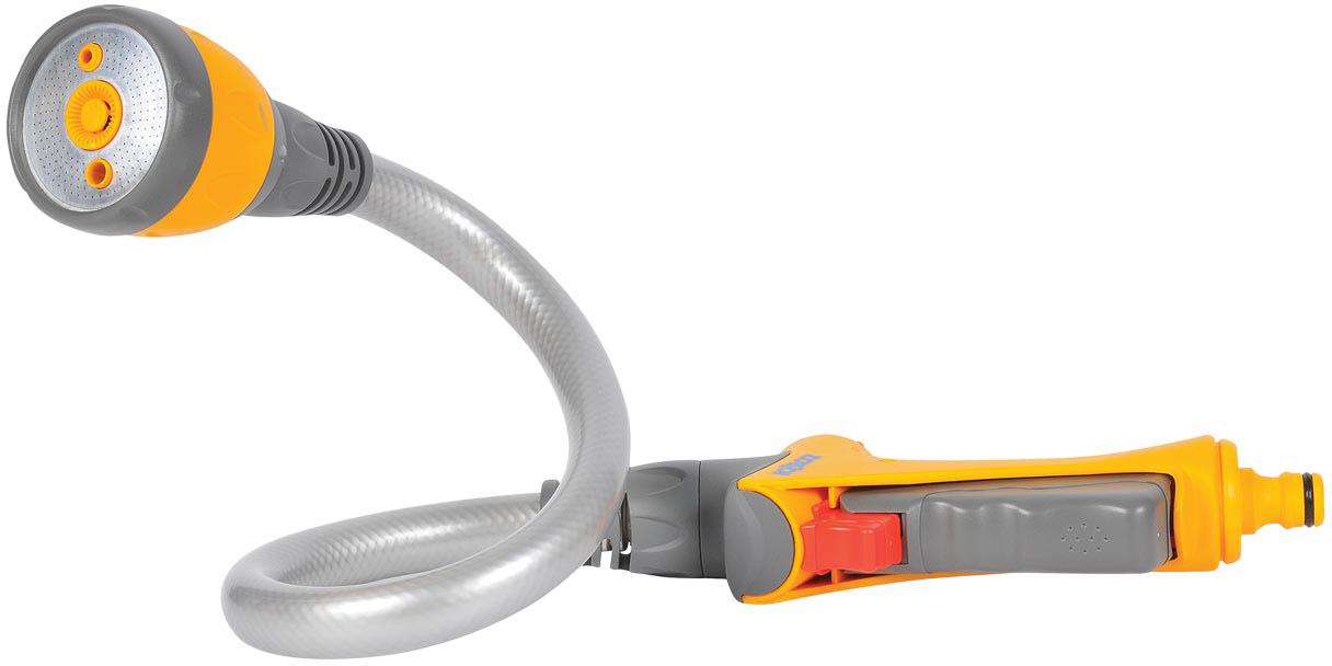 """Пистолет-распылитель """"HoZelock"""" на гибкой штанге Flexi Spray - это совершенно новый водяной  пистолет, имеющий многофункциональный наконечник в виде шланга, который может  принимать любую форму для выполнения широкого ряда работ по поливу.  Изделие  обеспечивает легкость полива в труднодоступных местах с минимальными усилиями  и затратами воды. Пистолет легко превращается в разбрызгиватель, способный  охватить до 69 квадратных метров. Изменив форму шланга вы можете выполнить полив без необходимости держать его в руках.  Имеет четыре типа распыления: мощная струя для очистки; быстрый поток (для наполнения  водой  различных емкостей – ведер, леек); душ, обеспечивающий точный полив граничных участков,  горшков и кашпо, не разрушающий растения; спринклерное распыление на большую площадь  превращает пистолет в интегрированный газонный ороситель, идеальный для небольших  газонов. Курок максимально комфортной формы изготовлен из пластика, мягкого на ощупь. Плавное  нажатие на курок способствует постепенной подаче воды от 0% до 100%. Для длительного  непрерывного полива предусмотрен 3-х ступенчатый механизм фиксации курка, который  минимизирует нагрузку на руку. Пистолет дополнительно оборудован поворотным  регулятором, который позволяет регулировать поток от 50% до 100% во время того, как курок  находится в зафиксированном положении."""