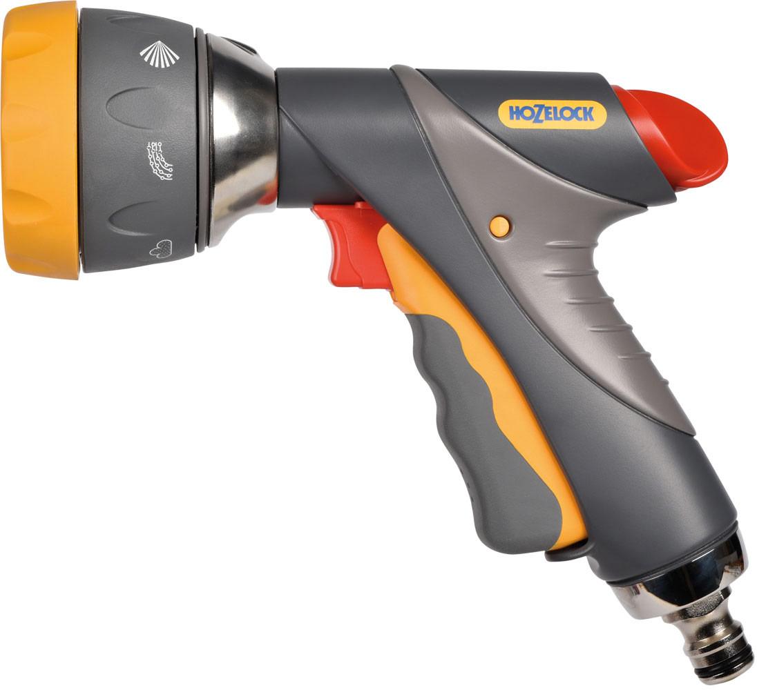 """Пистолет-распылитель HoZelock """"Mutli Spray Pro"""" - полнофункциональный пистолет с  металлическими вставками, обеспечивающими повышенную прочность, для полива и различных  видов очистительных работ на вашем участке. Эргономичная рукоятка повышенной комфортности. Блокировка курка для контроля потока при длительном поливе. Семь режимов полива: мощная струя для очистки; веер для смыва мыльной пены с автомобиля;  быстрый поток (для наполнения водой различных емкостей – леек и ведер); туман для бережного  полива саженцев; душ, обеспечивающий точный и деликатный полив граничных участков, горшков  и кашпо; конусная струя для мягкого полива; аэрированная (насыщенная воздухом) струя-сильный,  но мягкий поток воды, позволяющий аккуратно поливать растения, не разрушая грядки. Пистолет-распылитель HoZelock """"Mutli Spray Pro"""" сочетает в себе ультра прочный литой корпус из  алюминиевого сплава с добавлением цинка, накладки, изготовленные из мягкого, комфортного  для рук пластика, ряд особенно полезных, основных по необходимости, режимов полива. Аккуратно прилегает к руке, пистолет невероятно комфортен в использовании благодаря курку,  изготовленному с накладкой из мягкого пластика.  Плавное нажатие на курок способствует постепенной подаче воды от 0% до 100%. Для  длительного непрерывного полива предусмотрен механизм фиксации курка, который  минимизирует нагрузку на Вашу руку. Пистолет дополнительно оборудован поворотным  регулятором, который позволяет регулировать поток от 50% до 100% во время того, как курок  находится в зафиксированном положении."""