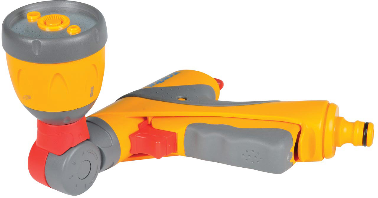 """Пистолет-распылитель-дождеватель HoZelock """"Ultra Twist"""" - многофункциональный поливочный  пистолет с 4-мя типами распыления, а также возможностью использовать его в качестве  газонного разбрызгивателя. Благодаря такому устройству 2-в-1 вам не нужно будет тратить  время, снимая одну насадку и ставя другую на шланг. Четыре типа распыления: мощная струя для очистки; быстрый поток (для наполнения водой  различных емкостей – ведер, леек); душ, обеспечивающий точный полив граничных участков,  горшков и кашпо, не разрушающий растения; спринклерное распыление на большую площадь  превращает пистолет в интегрированный газонный ороситель с зоной покрытия 69 кв.м,  идеальный для небольших газонов. Курок максимально комфортной формы изготовлен из пластика, мягкого на ощупь. Плавное  нажатие на курок способствует постепенной подаче воды от 0% до 100%. Для длительного  непрерывного полива предусмотрен механизм фиксации курка, который минимизирует нагрузку на  руку. Пистолет дополнительно оборудован поворотным регулятором, который позволяет  регулировать поток от 50% до 100% во время того, как курок зафиксирован. Головка пистолета  поворачивается под углом на 180 градусов, позволяя удобно выбрать площадь полива. Автономная работа-распылитель может устанавливаться для полива определенной зоны сада  без необходимости постоянно держать его в руках. Вы можете заняться другими делами или  отдохнуть, пока идет полив."""