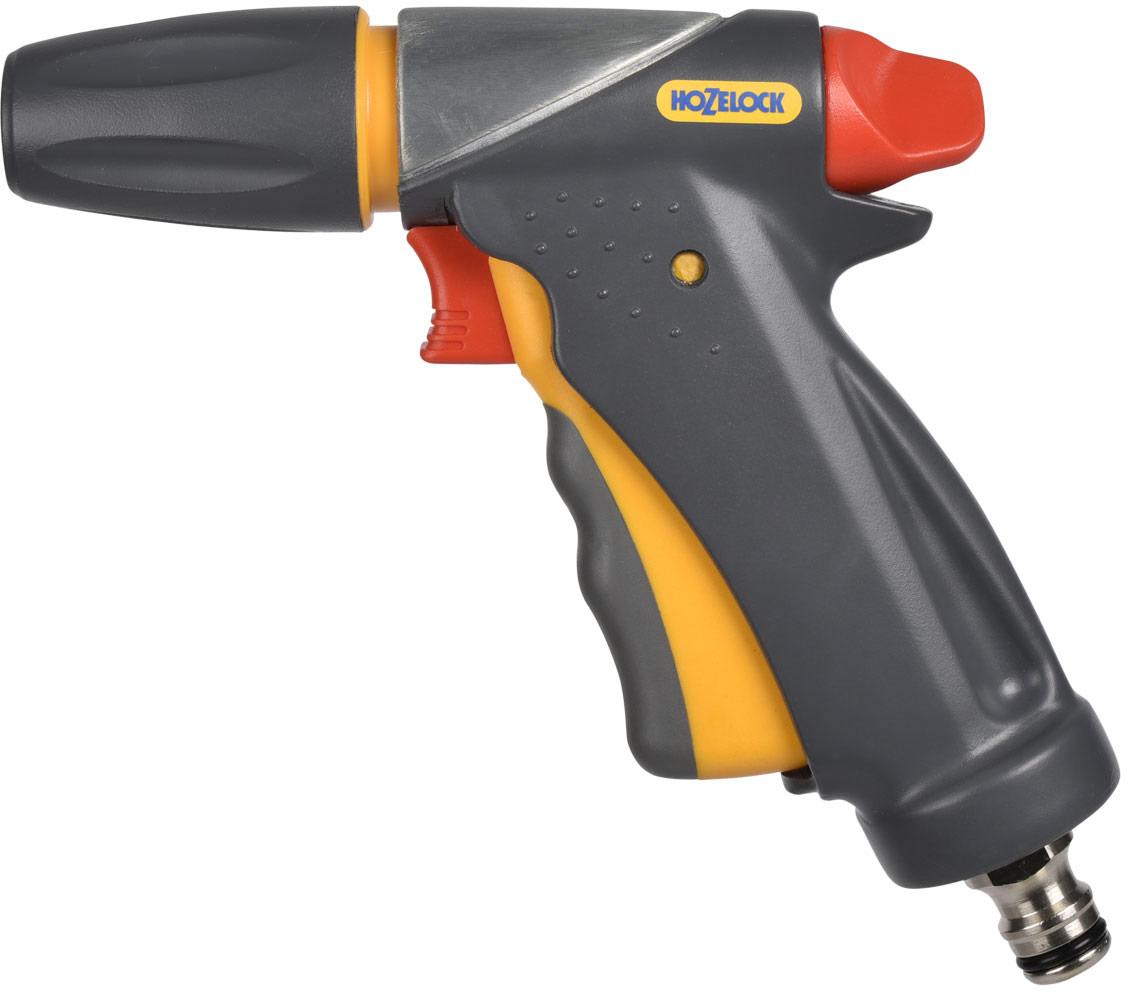 """Пистолет-распылитель Пистолет-распылитель HoZelock """"Ultramax Jet Spray"""" - одно из самых  надежных и долговечных приспособлений для полива благодаря ультра прочному литому корпусу  из алюминиевого сплава с добавлением цинка, способен выдерживать самые суровые условия  окружающей среды. Эргономичная рукоятка для повышенной комфортности.  Блокировка курка для контроля потока при длительном поливе.  Три режима полива для выполнения стандартных задач по поливу и очистительным работам:  конус для деликатного полива; мощная струя для очистки; быстрый поток (для наполнения водой  различных емкостей – леек и ведер. Аккуратно прилегает к руке, пистолет невероятно комфортен в использовании благодаря курку,  изготовленному с накладкой из мягкого пластика.  Плавное нажатие на курок способствует постепенной подаче воды от 0% до 100%. Для  длительного непрерывного полива предусмотрен механизм фиксации курка, который  минимизирует нагрузку на Вашу руку. Пистолет дополнительно оборудован поворотным  регулятором, который позволяет регулировать поток от 50% до 100% во время того, как курок  находится в зафиксированном положении."""