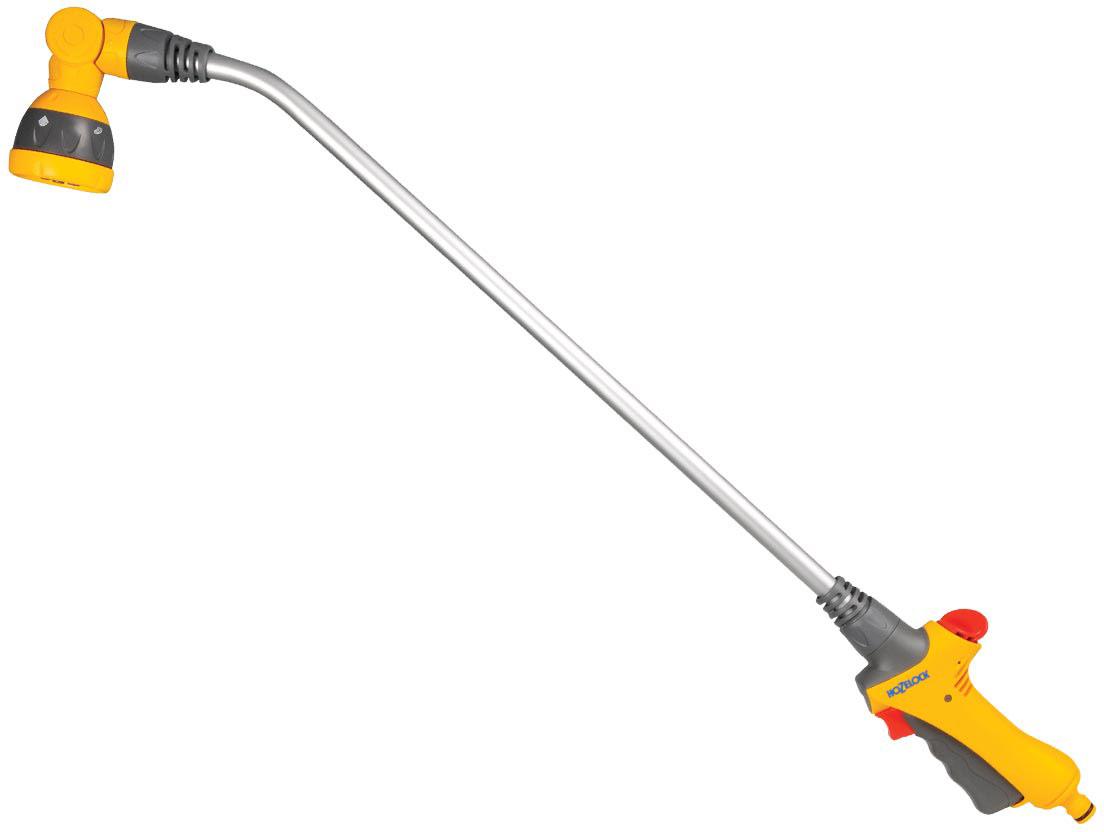 """Пистолет-распылитель HoZelock"""" на штанге Lance Spray Plus 90 ни одно растение не оставит без  внимания. Эта поливочная насадка, легкая и надежная, позволит тщательно полить каждый  уголок сада. Регулируемый на 180 градусов угол головки придает дополнительное удобство при поливе  растений на различной высоте. Имеет пять типов распыления: мощная струя для очистки, конусная струя для мягкого полива,  быстрый поток (для наполнения водой различных емкостей – леек и ведер); душ,  обеспечивающий точный полив граничных участков, горшков и кашпо, не разрушающий растения;  веерное распыление. Курок максимально комфортной формы изготовлен из пластика, мягкого на ощупь. Плавное  нажатие на курок способствует постепенной подаче воды от 0% до 100%. Для длительного  непрерывного полива предусмотрен механизм фиксации курка, который минимизирует нагрузку на  руку."""