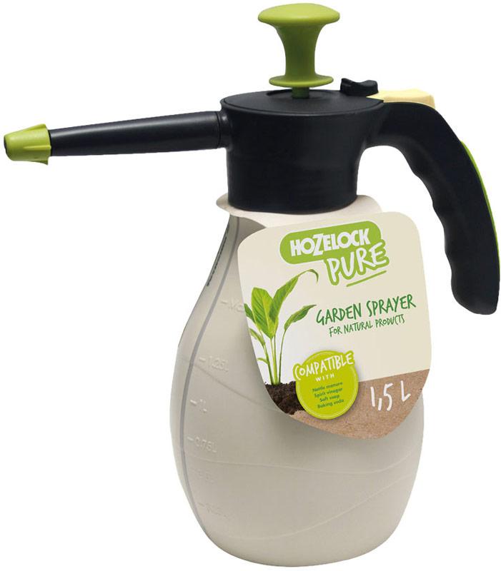 """Опрыскиватель HoZelock 4200 """"PURE"""" 2 л.  Садовый опрыскиватель для натуральных смесей и жидкостей, приготовленных своими руками, таких как удобрение из крапивы, белого уксуса, питьевой соды, мыла и др. Снабжен фильтром для жидких удобрений/настоев. Носик длиной 11 см, детали изделия устойчивы к агрессивным веществам, таким как уксус. Функция обработки при повороте флакона на 360° (вверх дном) для опрыскивания листьев с обратной стороны и труднодоступных участков. Рукоятка может фиксироваться в определенной позиции для непрерывной подачи жидкости, чтобы минимизировать нагрузку на Вашу руку. Уровень содержимого виден через полупрозрачный резервуар со шкалой, который позволяет точно смешивать ингредиенты и правильно дозировать. Максимальный уровень заполнения – 1,5 литра (для обеспечения достаточного воздушного пространства в емкости для сжатия под давлением)."""