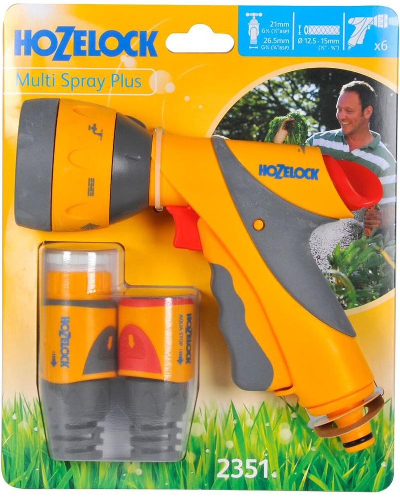 """Набор для полива HoZelock 2351 мulti Spray Plus 12,5мм.В комплекте: Пистолет-распылитель мulti Spray Plus 2684, Коннектор для концов шлангов Plus (12,5 мм и 15 мм) 2050, Коннектор aquastop Plus (12,5 мм и 15 мм)2055, Коннектор для крана вне помещений 1/2""""-3/4"""" (12,5 мм и 19 мм) Готовый набор с высококачественными принадлежностями для присоединения шланга к крану и поливочной насадкой-пистолетом с несколькими режимами полива для проведения поливочных работ."""
