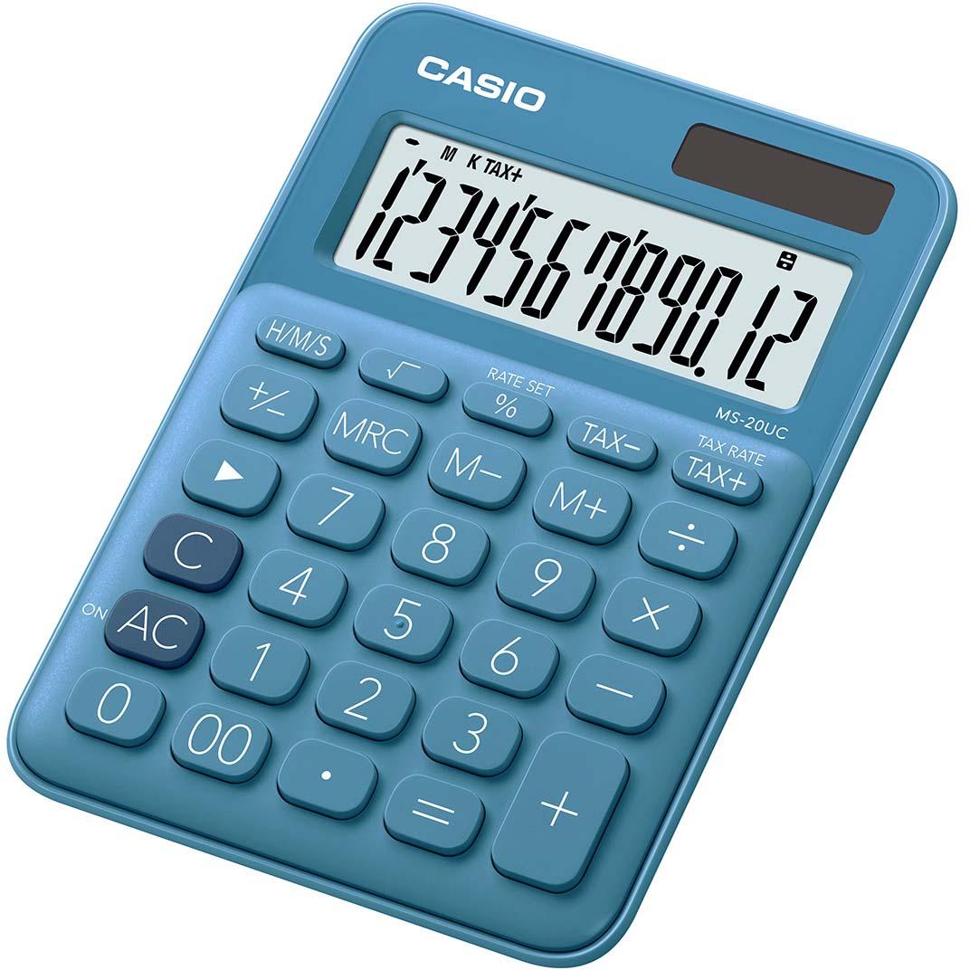 Casio калькулятор настольный MS-20UC-BU-S-EC цвет синий