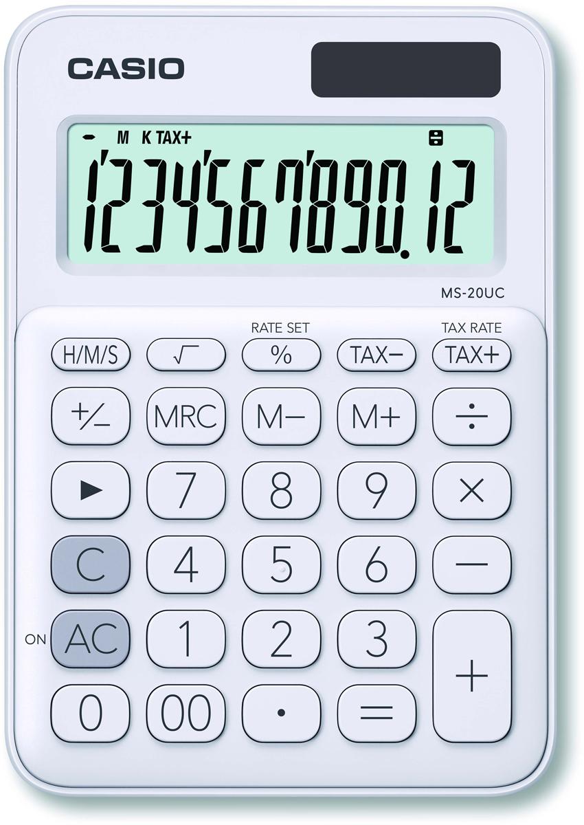 Casio калькулятор настольный MS-20UC-WE-S-EC цвет белый