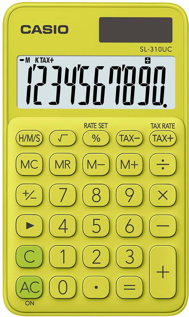 Casio калькулятор карманный SL-310UC-YG-S-EC цвет желтый зеленый