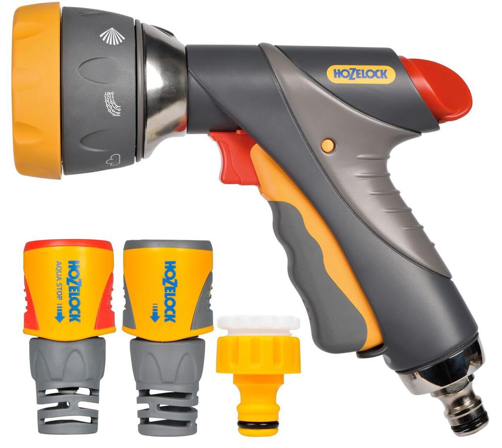 """Набор для полива HoZelock 2371 мulti Spray Pro 12,5мм В комплекте: Пистолет-распылитель мutli Spray Pro 2694, Коннектор для концов шлангов Plus (12,5 мм и 15 мм) 2050, Коннектор aquastop Plus (12,5 мм и 15 мм) 2055, Коннектор для крана вне помещений 1/2""""-3/4"""" (12,5 мм и 19 мм) Готовый набор с высококачественными принадлежностями для присоединения шланга к крану и поливочной насадкой-пистолетом с несколькими режимами полива для проведения поливочных работ."""