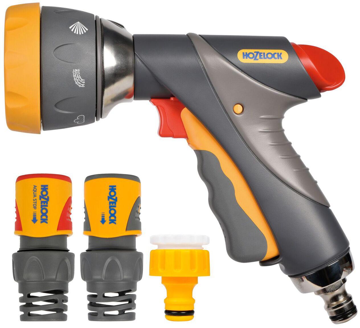 """Набор для полива HoZelock 2373 мulti Spray Pro 12,5мм В комплекте: Пистолет-распылитель мutli Spray Pro 2694, Коннектор для концов шлангов Plus (15 мм и 19 мм) 2060, Коннектор aquastop Plus (15 мм и 19 мм) 2065, Коннектор для крана вне помещений 1/2""""-3/4"""" (12,5 мм и 19 мм) Готовый набор с высококачественными принадлежностями для присоединения шланга к крану и поливочной насадкой-пистолетом с несколькими режимами полива для проведения поливочных работ."""