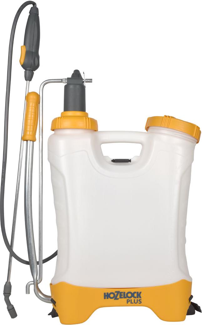 """Вместительный многоцелевой распылитель HoZelock """"Plus"""" прекрасно подходящий для обработки больших территорий. Имеет удобную форму и регулируемые ремни, благодаря которым опрыскиватель легко носить на спине. Максимальный объем заливаемого раствора – 10 литров (для обеспечения достаточного воздушного пространства в емкости для сжатия под давлением).Дозатор с уникальным индикатором раствора позволяет вам установить, какой препарат вы используете (фунгицид, гербицид, инсектицид или удобрение), чтобы избавить от необходимости запоминать, что вы заливали последним.Инновационная технология «last drop» обеспечивает расход раствора целиком, до последней капли.Встроенный клапан выпуска давления позволяет сбросить избыточное давление, таким образом, вы не перекачаете распылитель. Специальная форма емкости и регулируемые ремни для удобного расположения за спиной и комфортной работы.Коническое сопло с регулировкой подачи раствора от струи до мелкодисперсного распыления («облако»).Фиксация потока для продолжительного распыления. В комплект входит конус для локальной обработки гербицидом-при использовании этой насадки препарат распыляется точно на растение-мишень, без риска того, что часть раствора из-за ветра не попадет на растение."""
